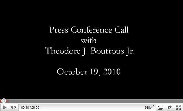 video of Press Conference Call – October 19, 2010